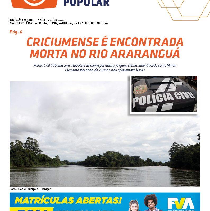 EDIÇÃO 2300 – 21/07/2020 – JORNAL ENFOQUE POPULAR