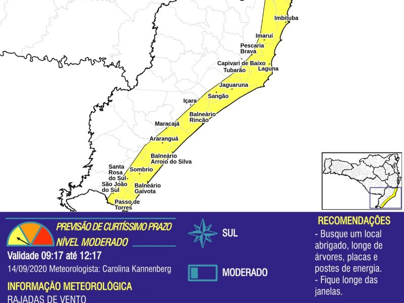 Defesa Civil alerta para fortes rajadas de vento na região