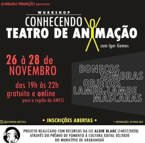 Região recebe workshop sobre Teatro de Animação